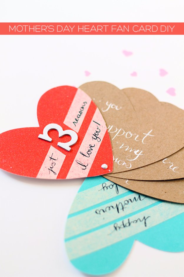 20 Mother's Day Heart Fan Card DIY