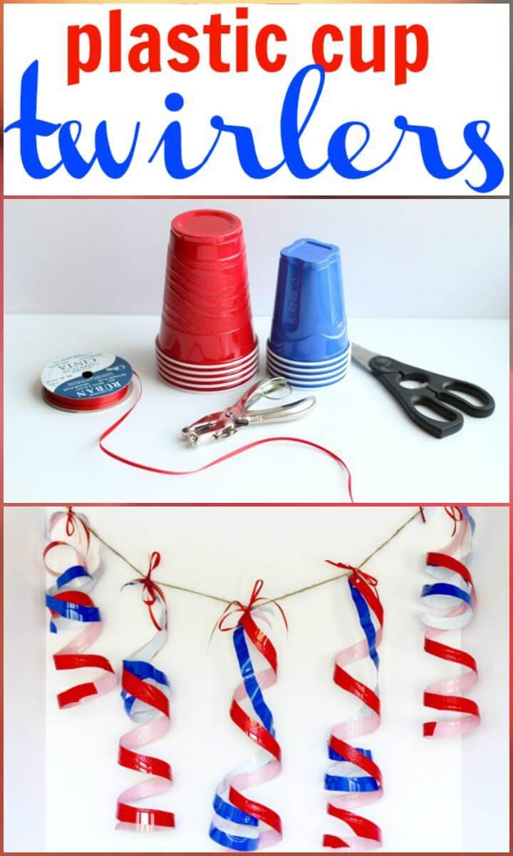 21 DIY Plastic Cup Patriotic Twirlers
