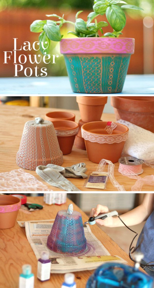 24 DIY Airbrushed Lacy Flower Pots
