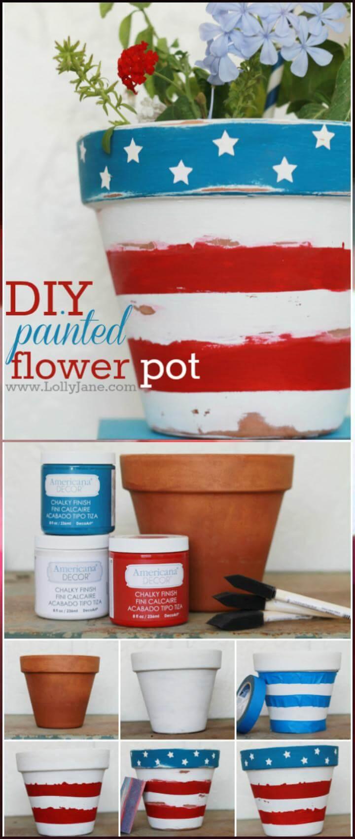 24 DIY Painted Patriotic Flower Pot