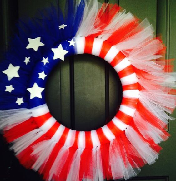 24 Fourth of July Tulle Wreaths