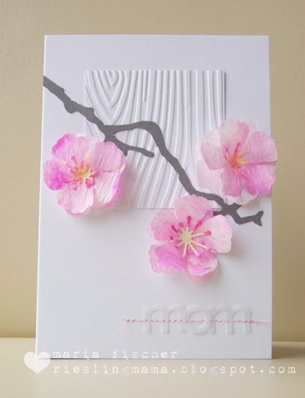 24 Watercolored Cherry Blossoms Card