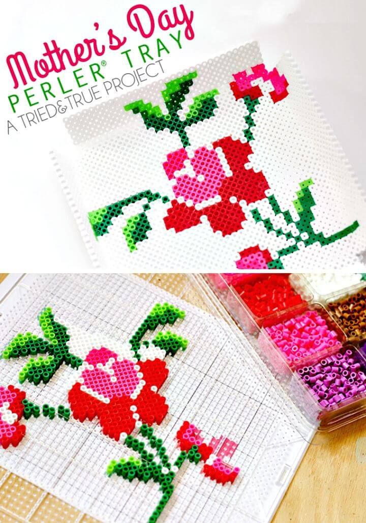 25 Adorable DIY Mothers Day Perler Bead Tray