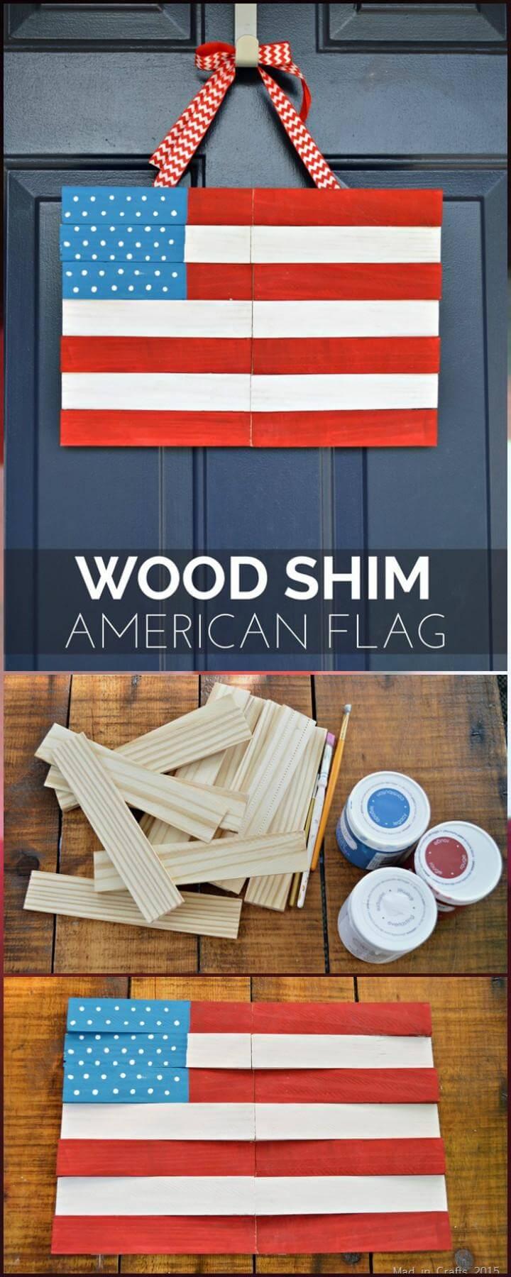 25 DIY Wood Shim American Flag Door Decor