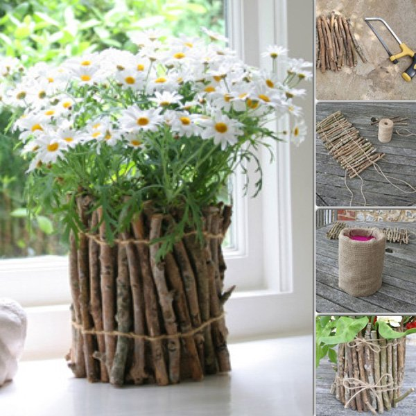 26 Twig flower pots for giving or keeping a tutorial
