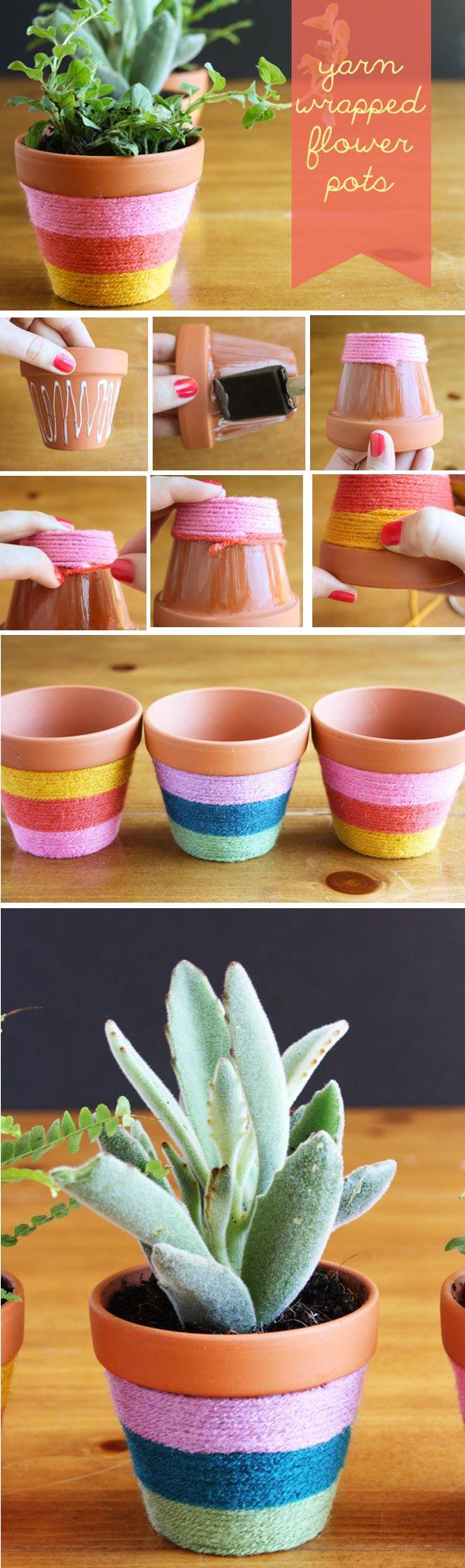 27 Yarn-Wrapped Flower Pots