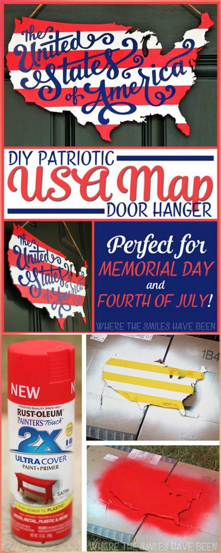 28 DIY Wooden Patriotic USA Map Door Hanger
