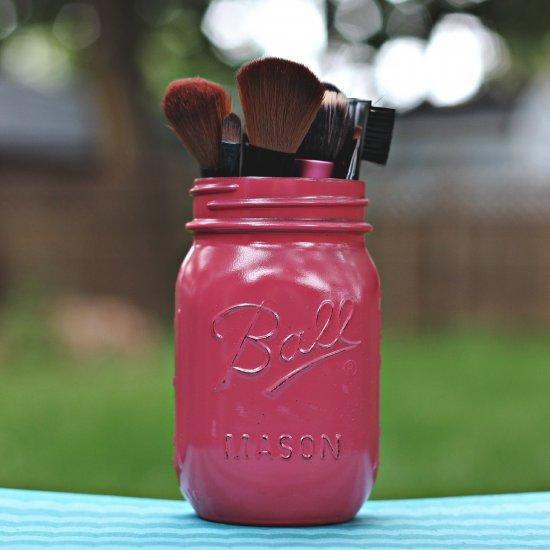 3 Painted Mason Jar Makeup Brush Holder