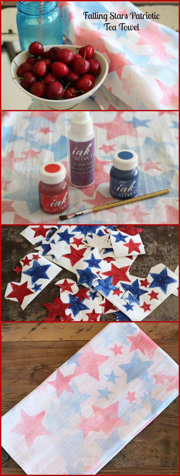 30 DIY Falling Stars Patriotic Tea Towel