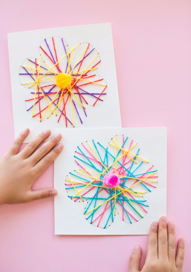 33 DIY String Art Flower Card