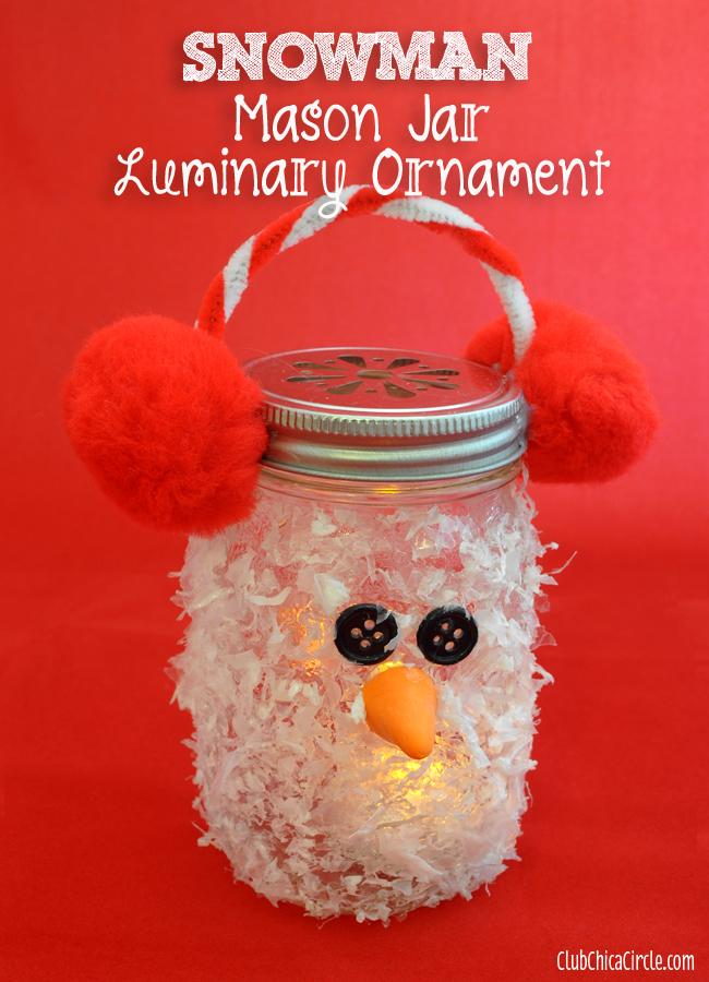 35 Snowman Mason Jar Luminary Ornament