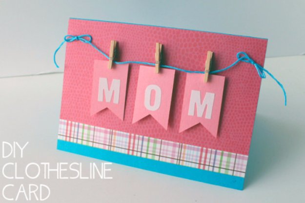 36 DIY Mom Mini Clothespin Greeting Card