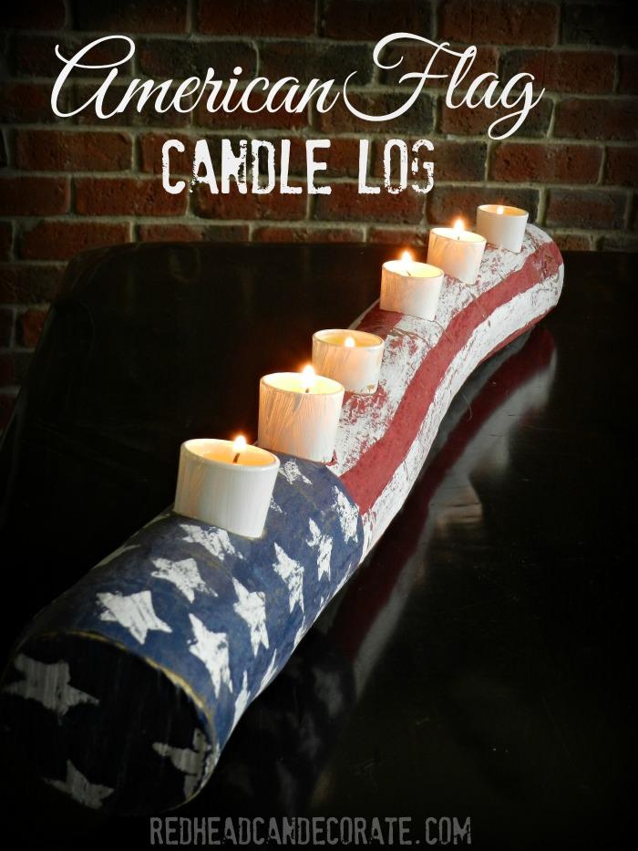 38 American Flag Log Candle