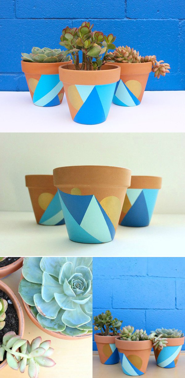 38 DIY Geometric Painted Pots