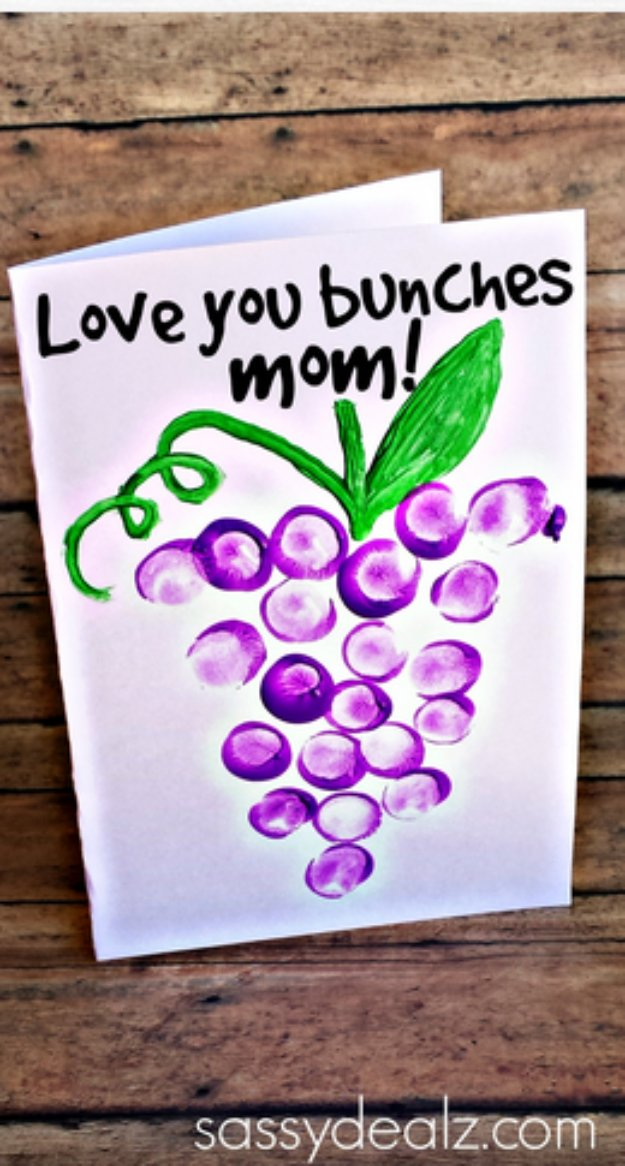 39 Love You Bunches Thumbprint Mother's Day Card