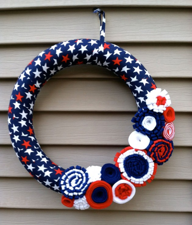39 Patriotic Wreath Wrapped in Red,White, & Blue Star Fabric with felt flowers
