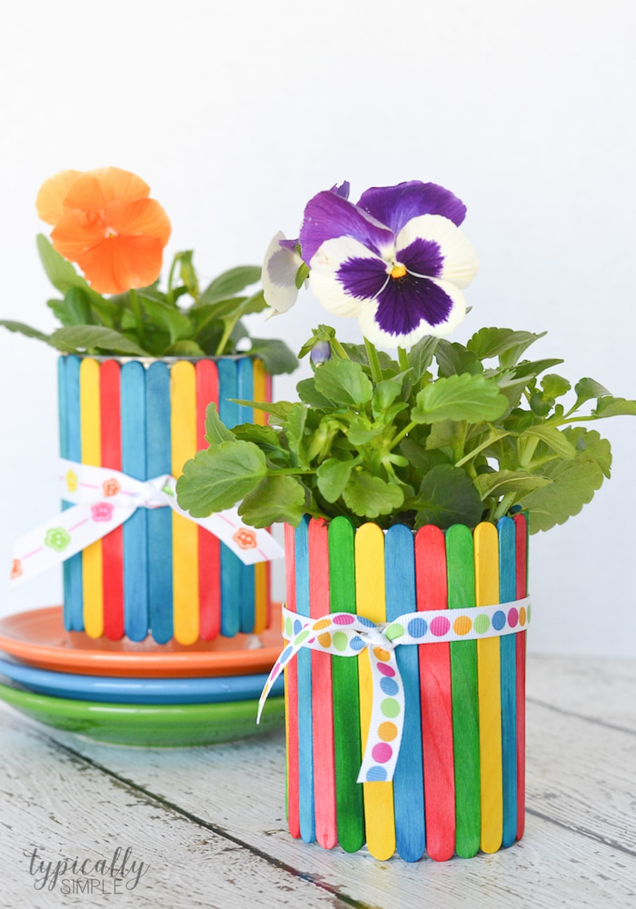 4 Craft Stick Flower Pot