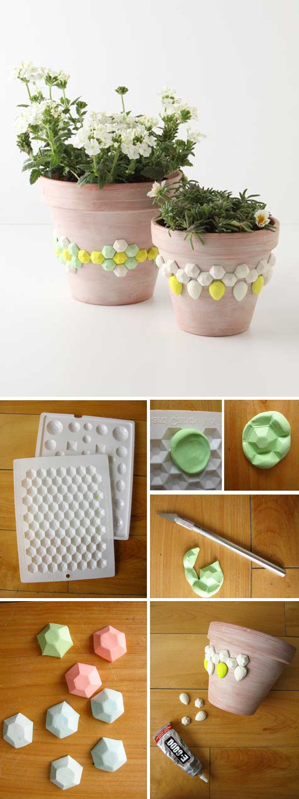 40 DIY project faceted gem flower pots
