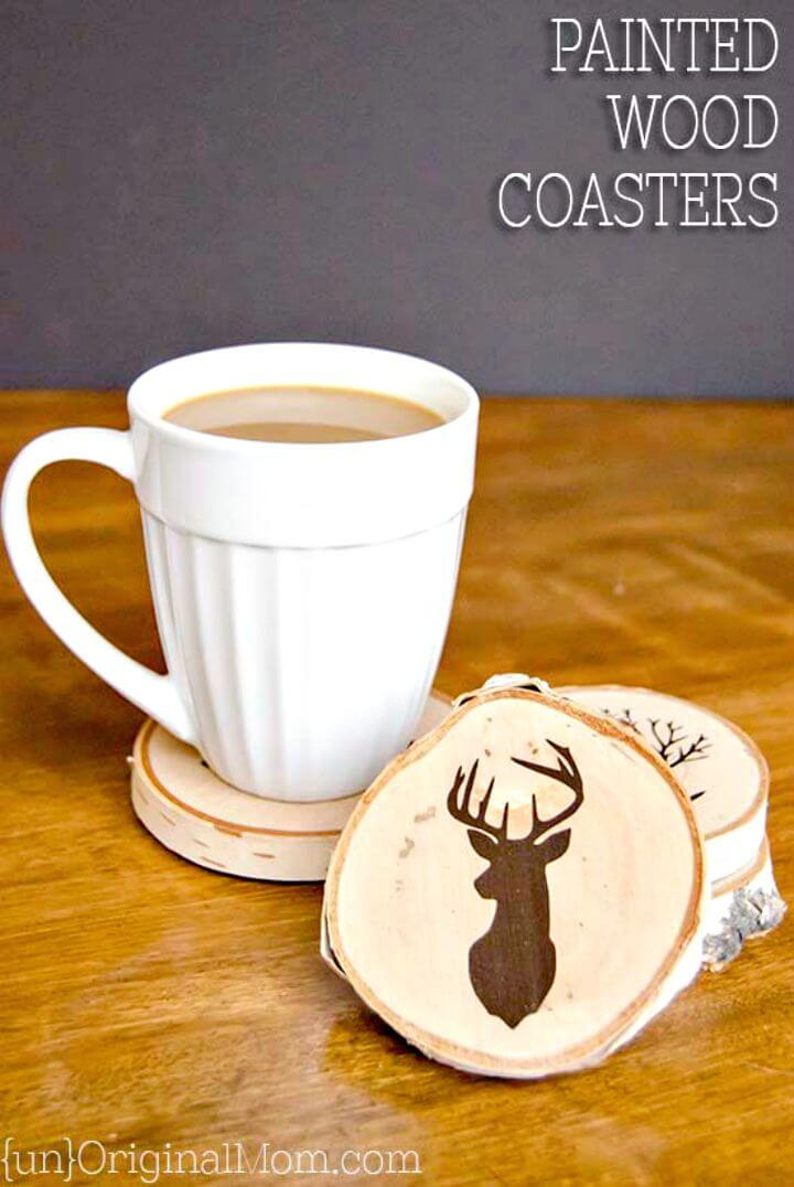 42 Adorable DIY Painted Wood Slice Coasters
