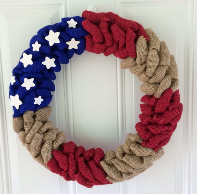 42 American flag burlap wreath