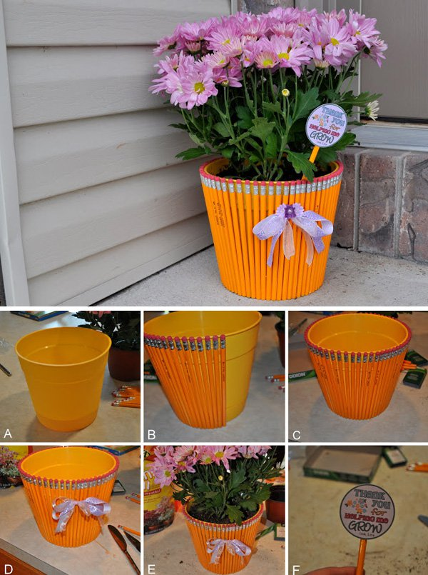 42 DIY Pencil flower pot