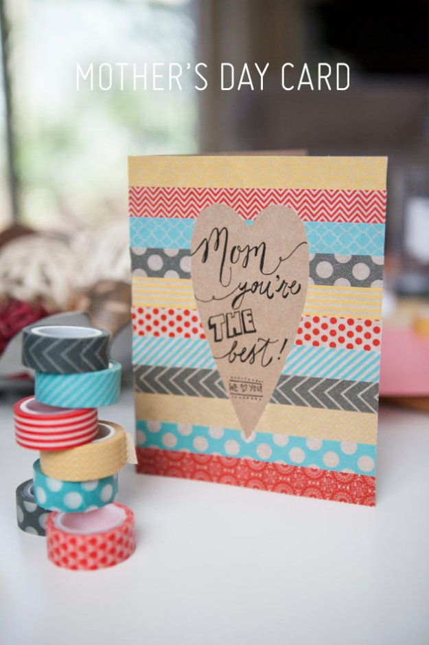 42 DIY Washi Tape Mother's Day Card