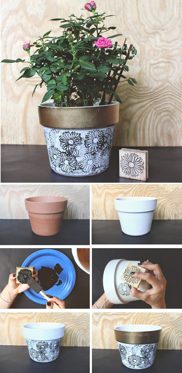 43 DIY STAMPED FLOWER POT