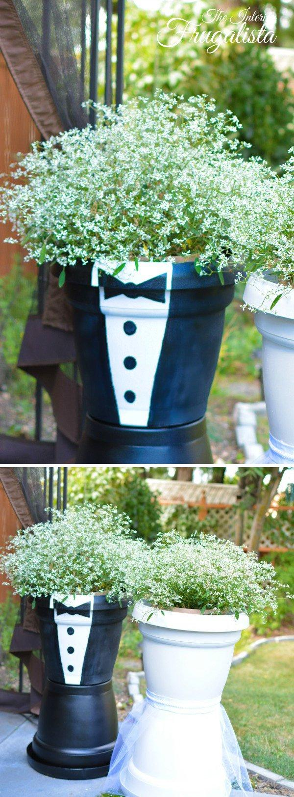 44 DIY Bridal Couple Flower Pots
