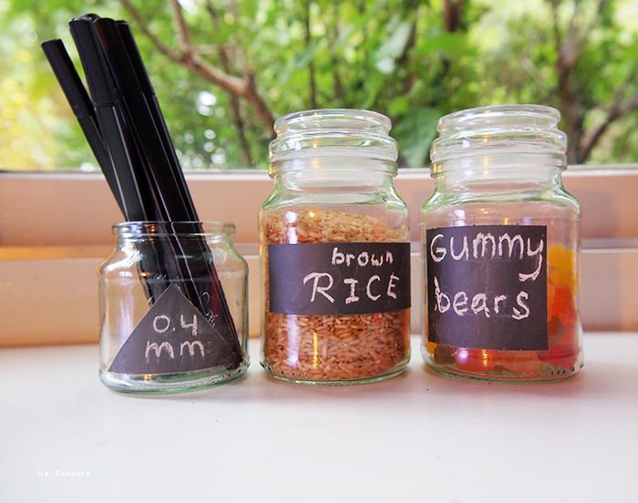 5 Chalkboard Glass Jars