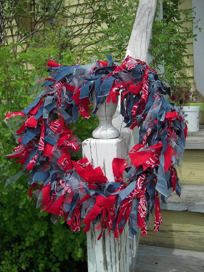5 Patriotic Red-Bandana Recycled Denim Wreath