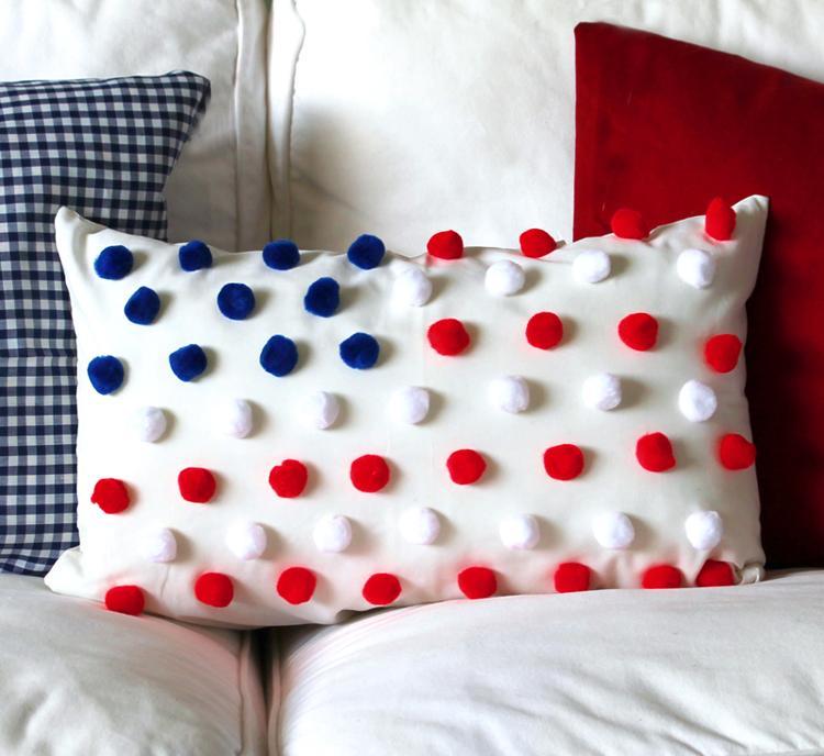 5 Pom Pom Flag Pillow