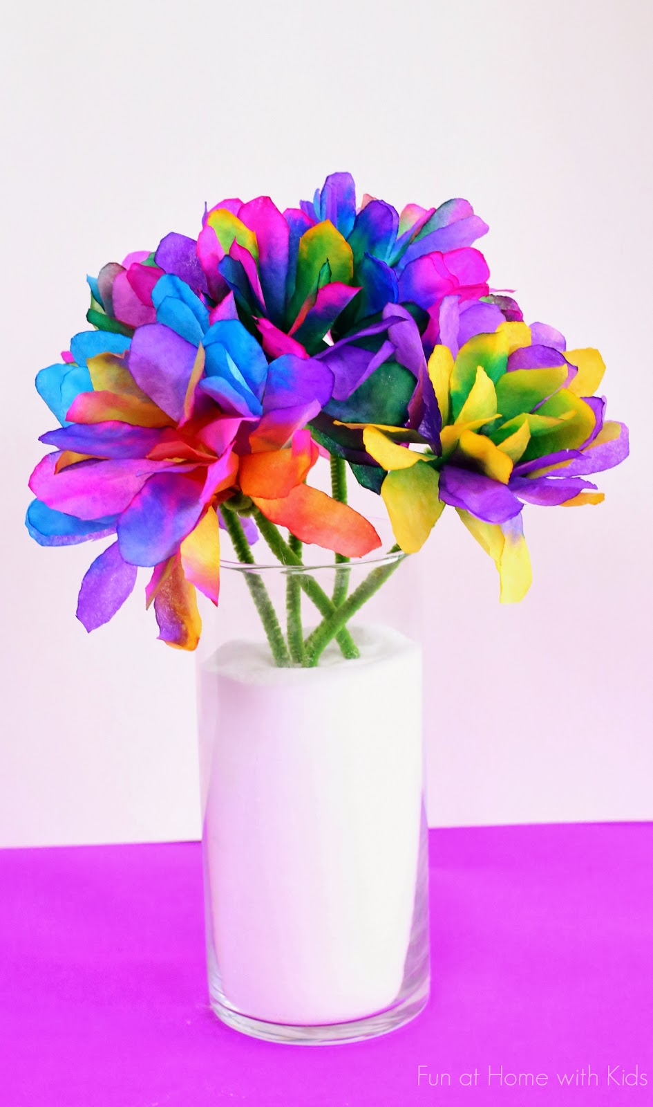 6 Colored Coffee Filter Flowers