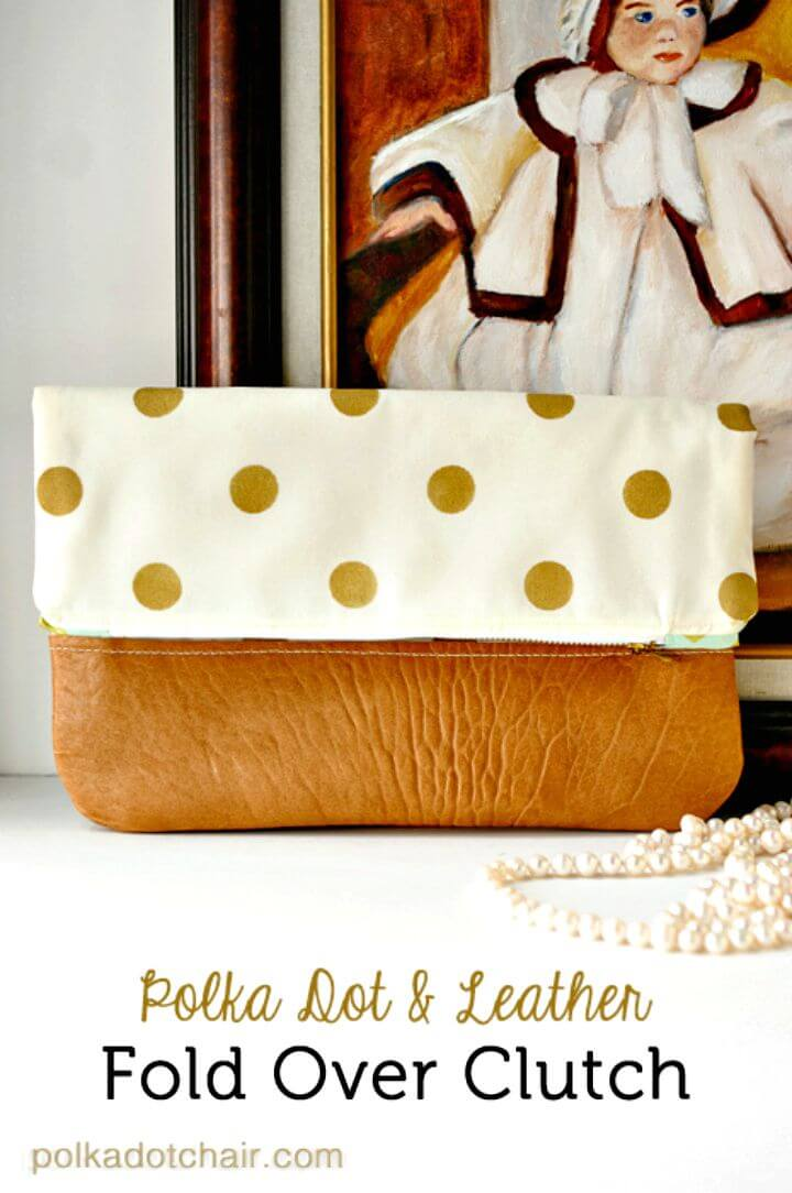 62 DIY Polka Dot Fold Over Clutch Mothers Day Gift