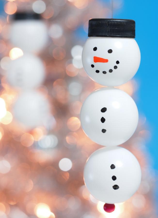 8 Ping Pong Snowmen Ornaments