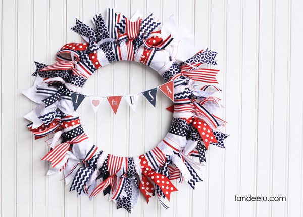 8 Red  White and Blue Ribbon Wreath