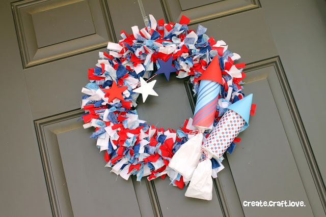9 Firecracker Rag Wreath