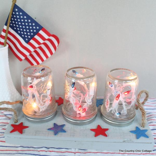 1 Patriotic Mason Jar Centerpiece