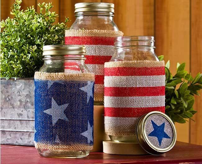 10 Burlap Wrapped Mason Jars