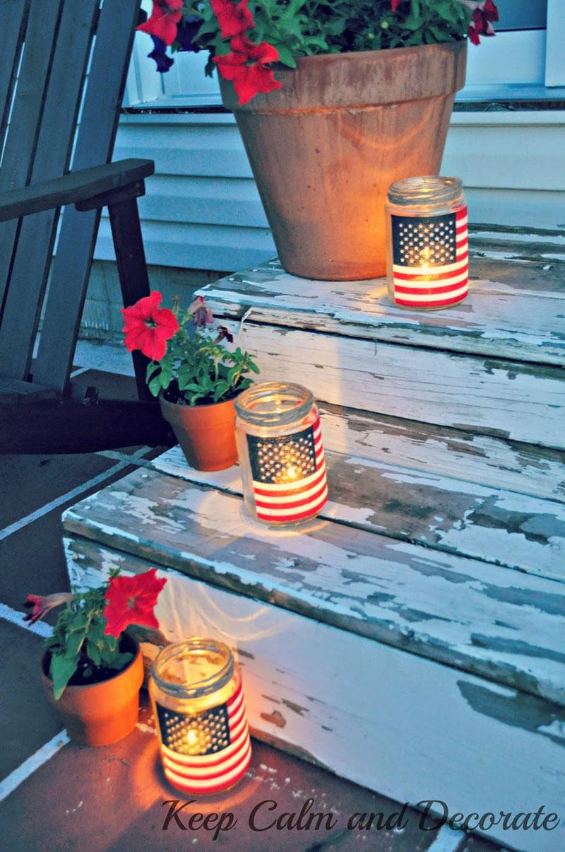 11 Mason Jar Flag Luminaries