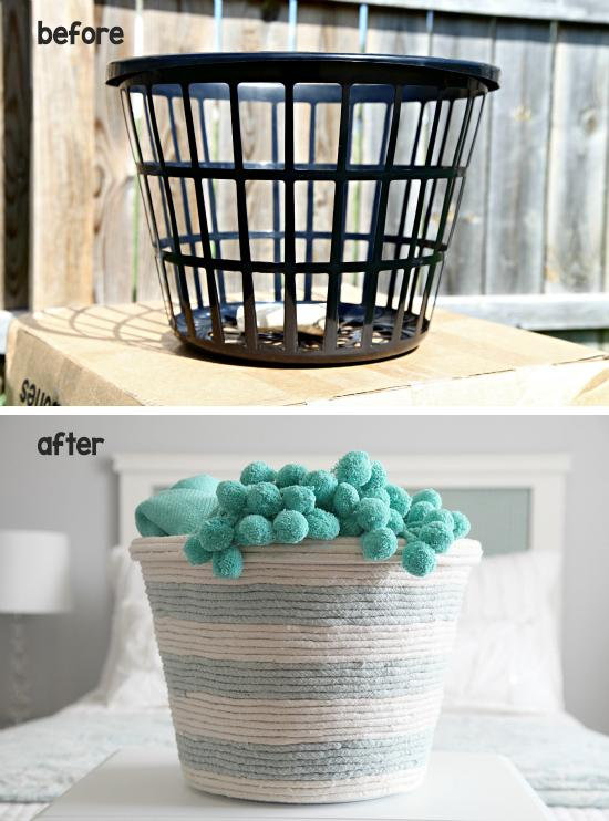 12 Transform a dollar store basket with rope.