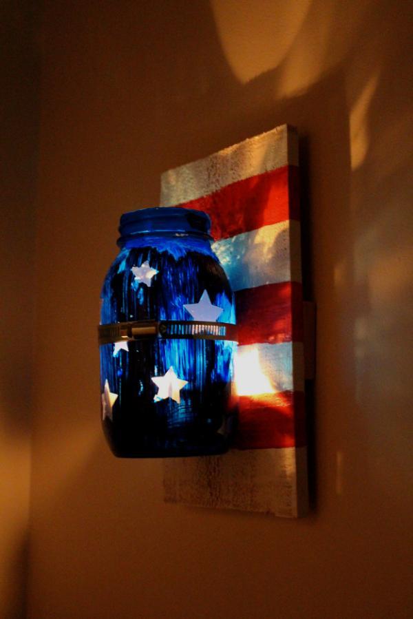 13 Patriotic Mason Jar Candle Sconce