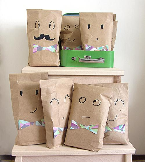 13 Recycled brown paper party bags