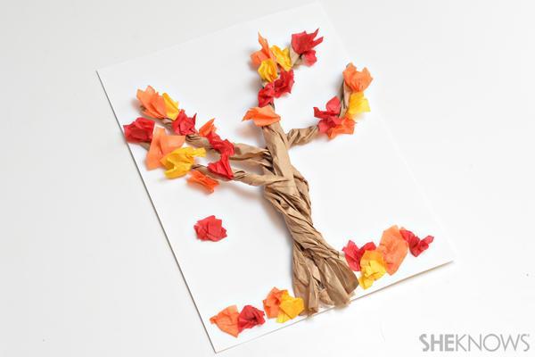 14 3-D paper bag tree