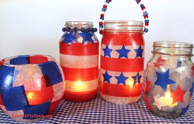 16 red white blue lanterns mason jars
