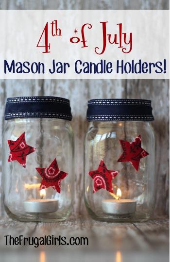18 4th of July Mason Jar Candle Holders