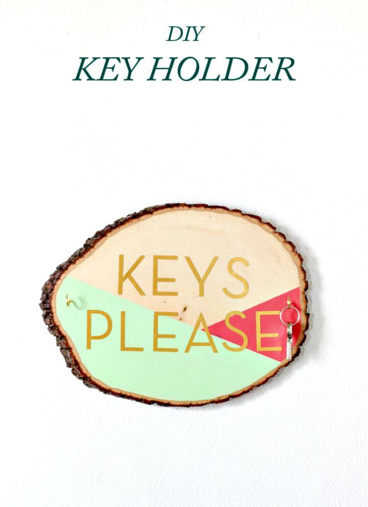 19 DIY Wooden Slab Key Holder