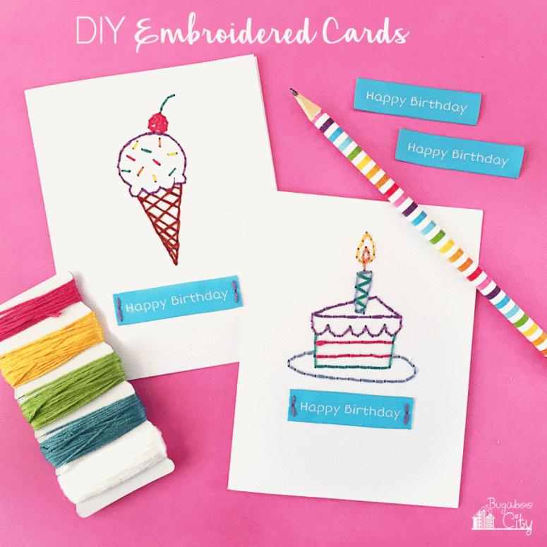 19 DIY embroidered birthday card