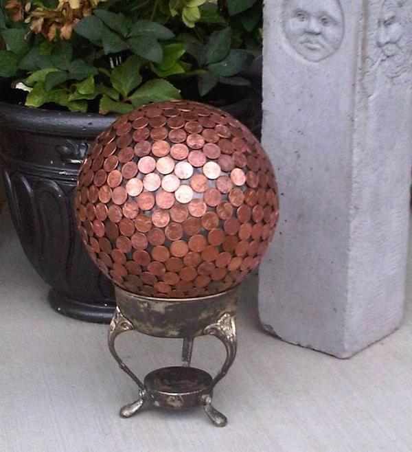 20 Penny Gazing Ball Yard Art