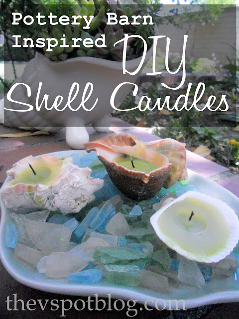 20 Pottery Barn Inspired DIY shell candles