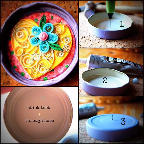 21 Miniature Jar Lid Collages